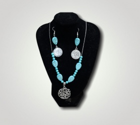 A set of turquoise and silver