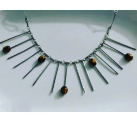 A Necklace of silver and tiger's eye stone